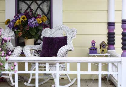Colorful porch rocker cushions