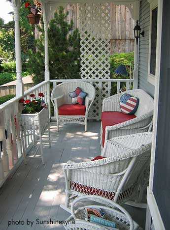 Red Gingham + Wicker...such A Fresh..bright..and Pretty Porch...all I Need  Is Coffee Book.... | Decorating | Pinterest | Porch, Red Gingham And Gingham