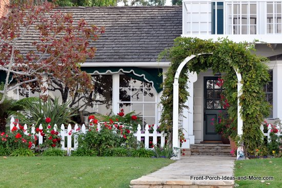 front porch arched entrance with vines