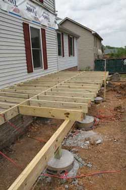 Porch foundations porch repairs porch footing for Old house foundation types