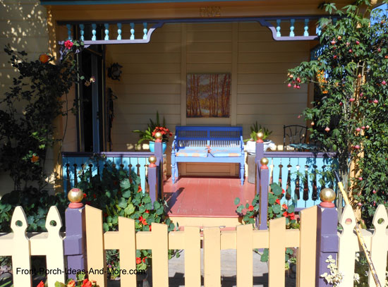 painted front porch in blues