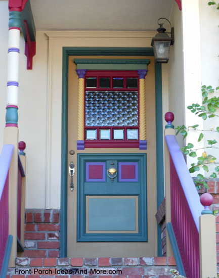 Vividly painted front door and porch