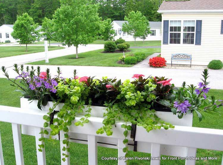 Karen's window box planters hang from her porch railings