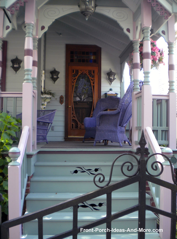porch steps with embellishments on Victorian porch