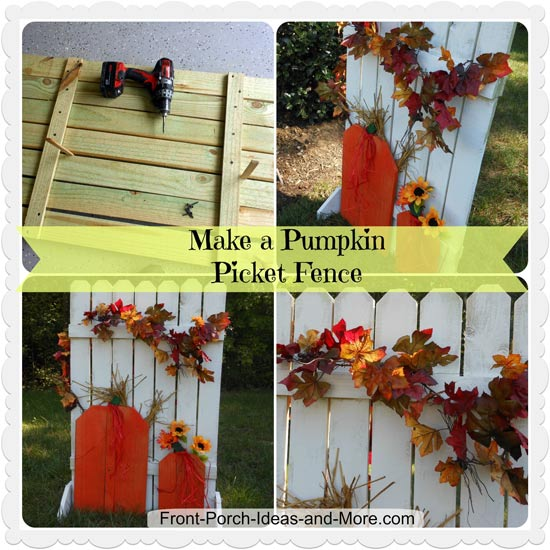 collage for making pumpkin picket fence
