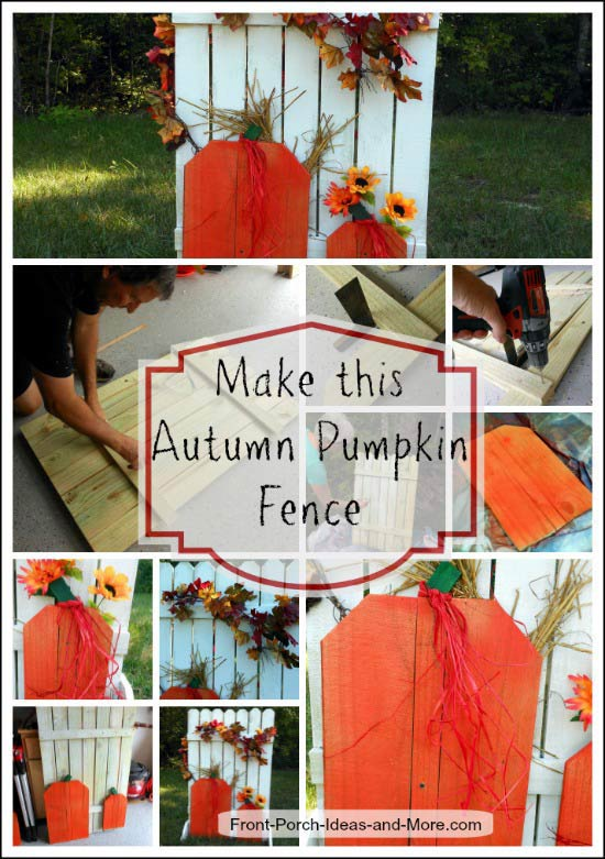 faux fence decorated for fall