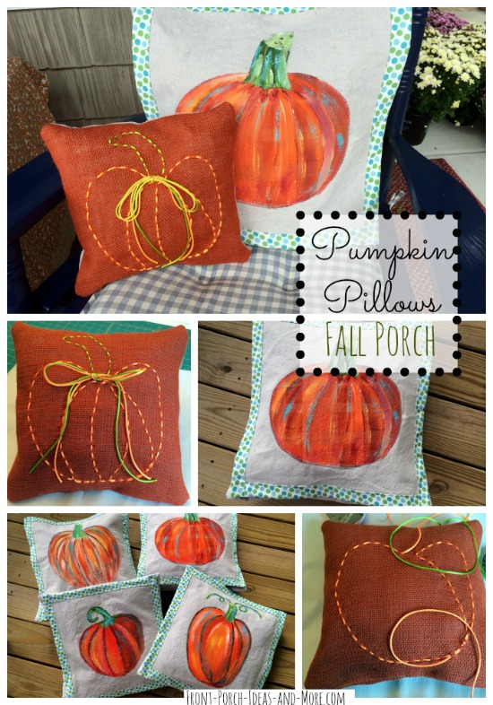 collage of our pumpkin pillows for our autumn decorating