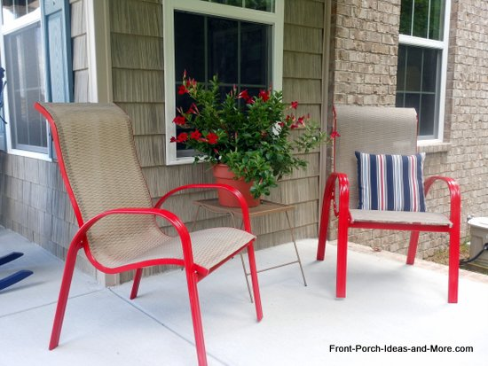 Spray paint your chairs to jazz them up. Easy and so fun! Front-Porch-Ideas-and-More.com