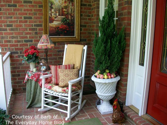 Barb's beautiful new porch decorated in red