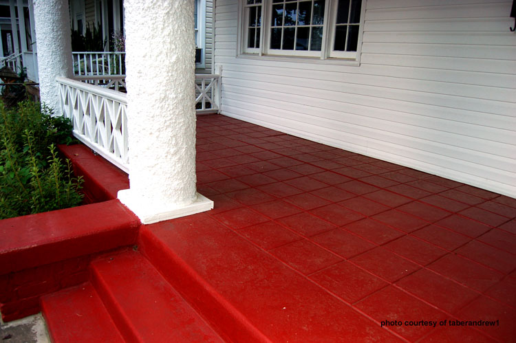 red painted concrete porch steps and flooring