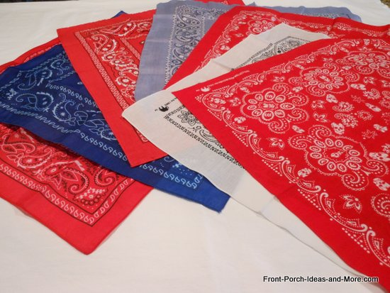 bandanas from the dollar store in red, white and blue