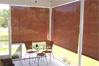 exterior shades made from redwood