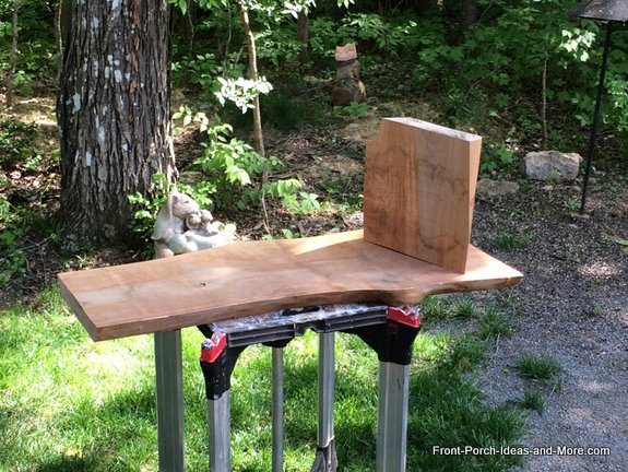 resawn cherry for garden bench showing seat and one leg