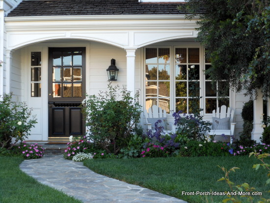 Romanesque style porch on home in Newport Beach California