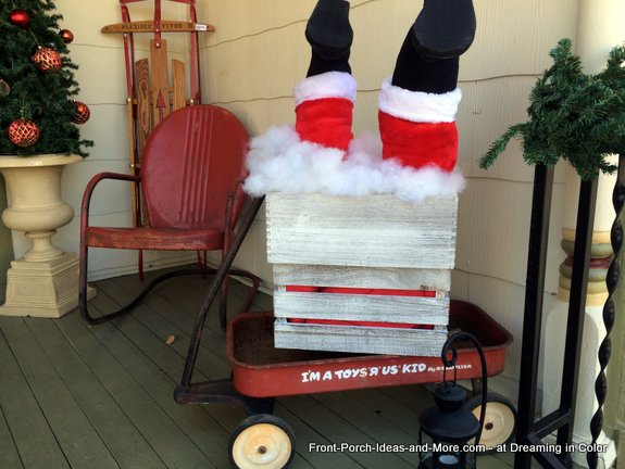 Another fun way to decorate an old red wagon for Christmas - Dreaming in Color shop, Murfreesboro TN