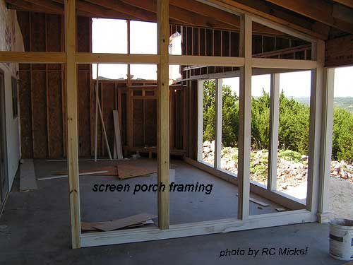 Screen porch framing