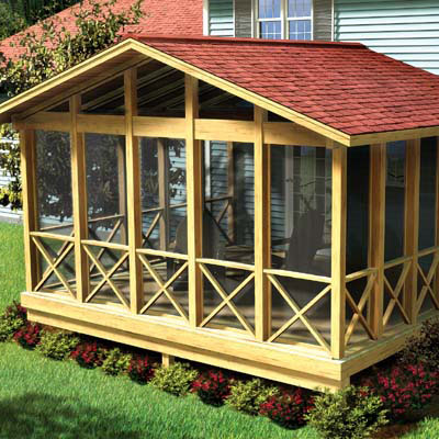 screen porch rendering from porch plan