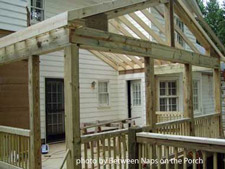 Porch framed for screen