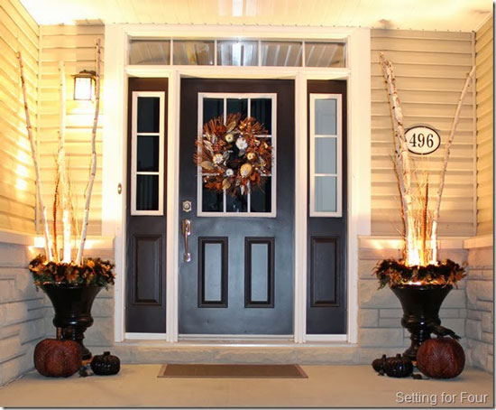 Heather's beautiful front entry is all set for autumn - blog Setting for Four