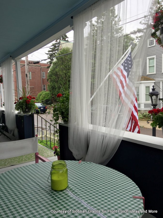 Siobhan's porch has sheer curtains