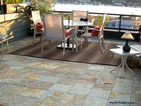 Slate Interlocking Decking On Patio