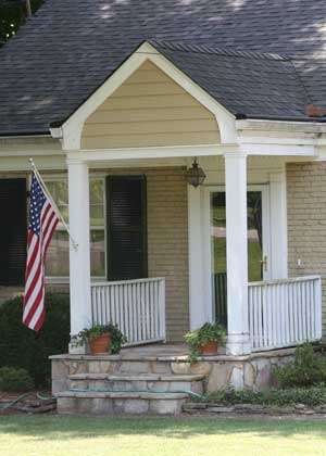 small front porch with gable roof design