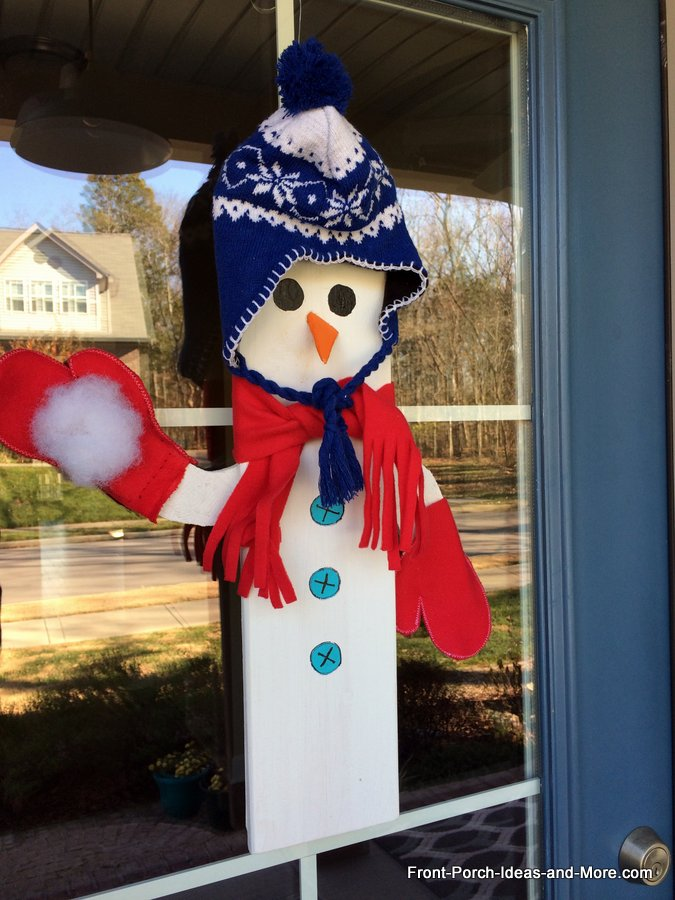 close-up of our DIY snowman door decoration