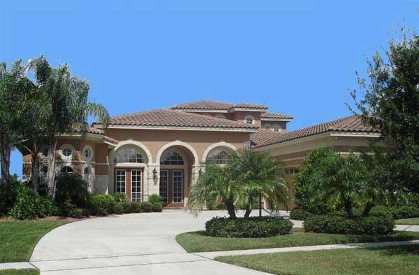 Porches, stucco, tile - classic southwest design Plan 40027