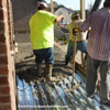 pouring concrete on steel sheathing