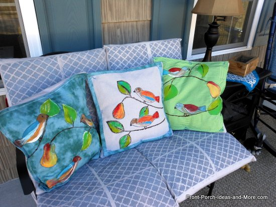 our spring bird pillow toppers