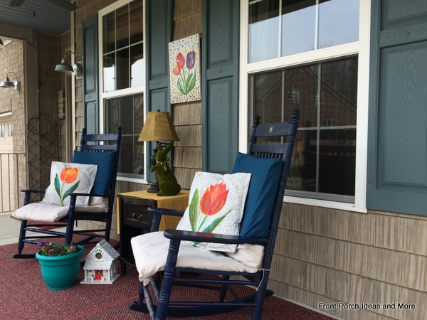 A view from the other direction of our springtime porch - decorated in a tulip theme