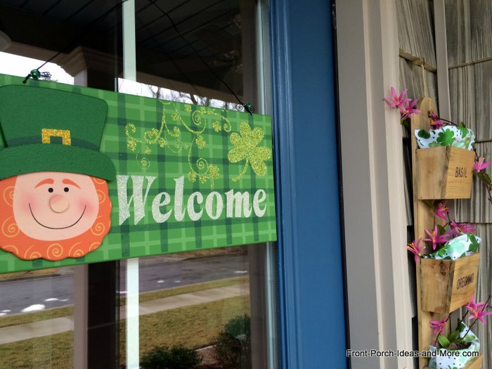 front door decorated for St. Patrick's Day