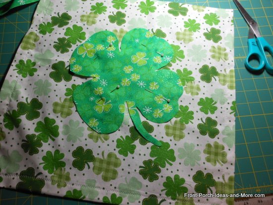 pin the shamrock onto the front of the pillow topper