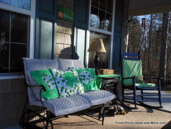 front porch all set for St. Patricks Day