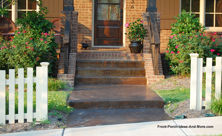 stained front porch concrete steps