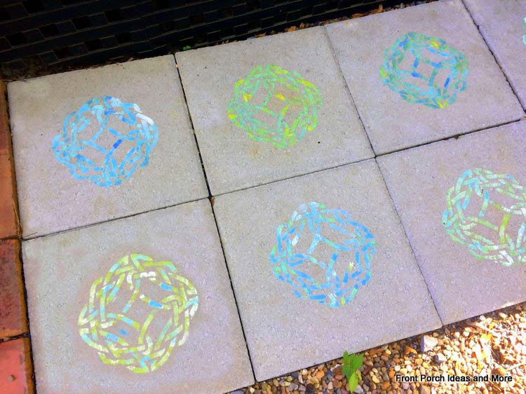 close-up photo of the stenciled paver designs
