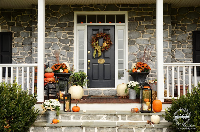 Stone Gable: Fall on Front Porch