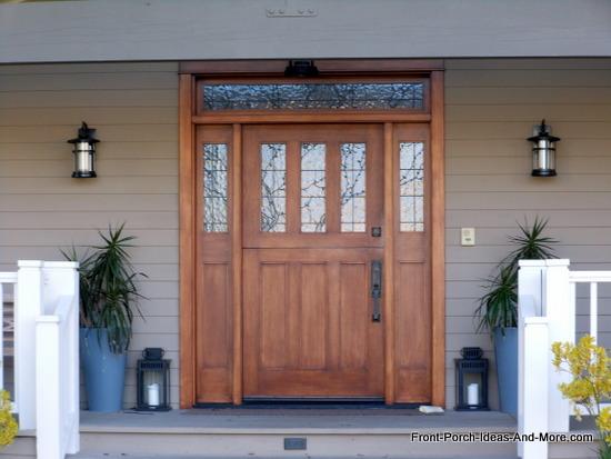 exquisite wooden front door on porch in Newport Beach CA