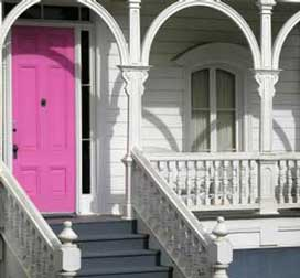 Brightly painted door