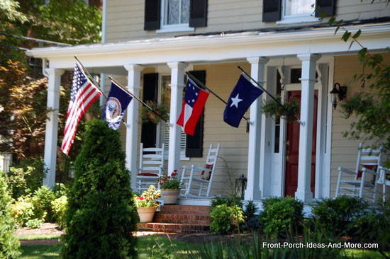 summer front porch decor with flags