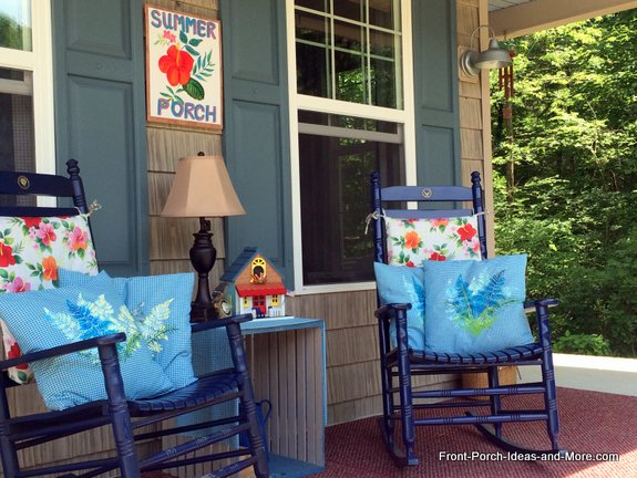 Our summer porch with new pillow toppers, quickly covered cushions, painted birdhouse and summer porch sign.