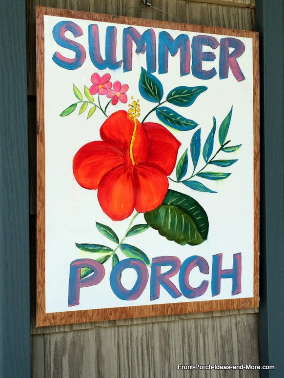 A summer sign for our porch that I painted - it is inspired by the fabric on our cushions