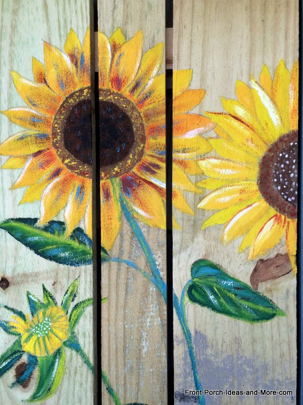Close Up Of The Sunflower Painting I Did For Our Porch
