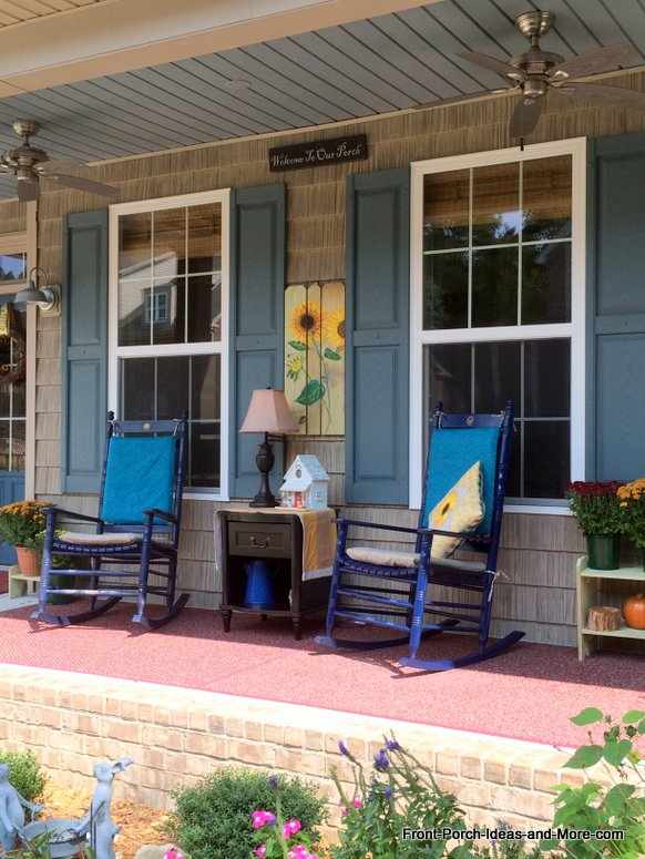 Our porch decorated with a sunflower theme. Taken from the curb.