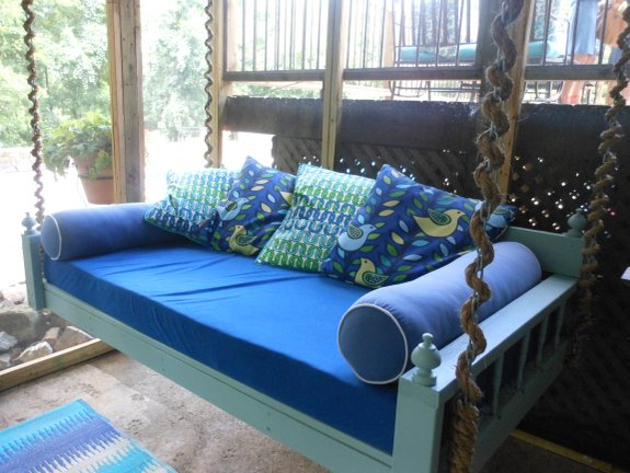 Comfortable swing bed on Dana and Brooks porch