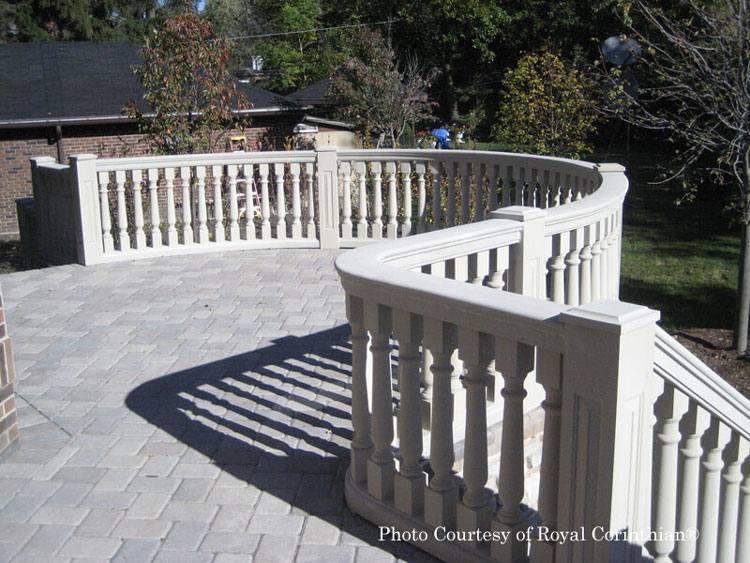 Royal Corinthian® curved synthetic stone balustrade design