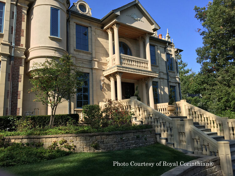 Royal Corinthian® synthetic stone balustrade on front porch
