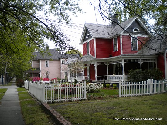 This neighborhood is so lovely to visit in the springtime. See at Front-Porch-Ideas-and-More.com