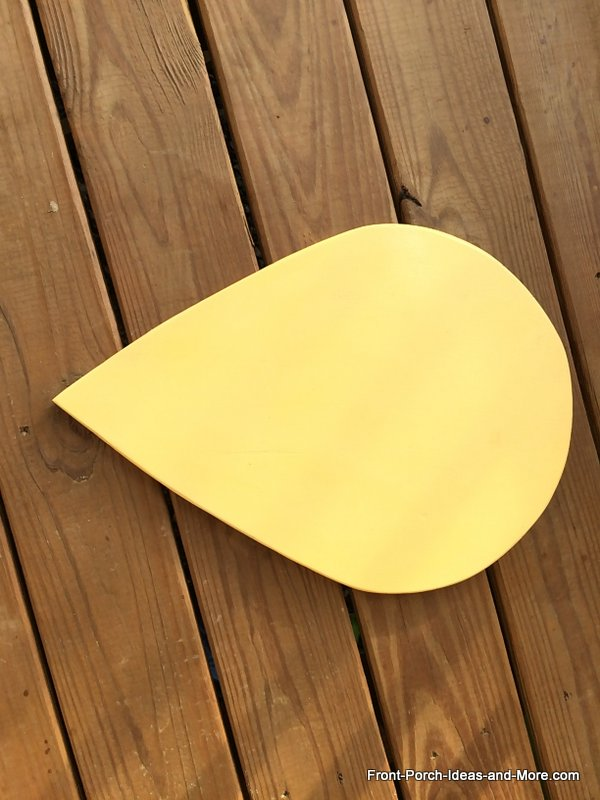 tear drop shape cut from plywood to look like a bumble bee