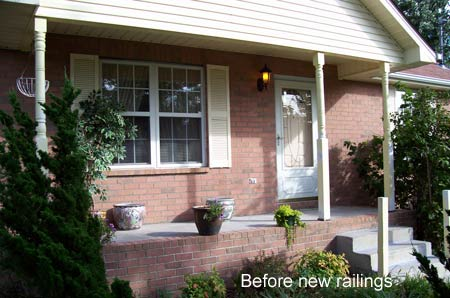 tempered glass panels - before picture - Larry had already taken down the wood porch railings